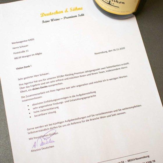 Dankeschön-Brief Deutschen & Söhne
